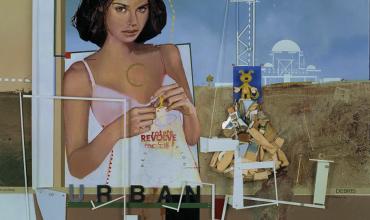 Mohammad Al-Rawas, Urban Debris, 2004. Huile et assemblage sur toile, 50 x 60 cm. © Donation Lemand - IMA