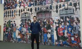 Le street-artiste Combo et sa «fresque kaléidoscopique ».