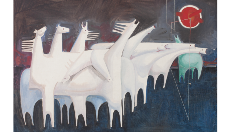 Kadhim Haydar, Fatigued Ten Horses Converse with Nothing  (The Martyr's Epic), huile sur toile, 91 x 127 cm, 1965. Barjeel Art Foundation