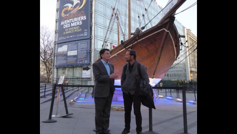 Le navigateur Thomas Coville en visite à l'IMA