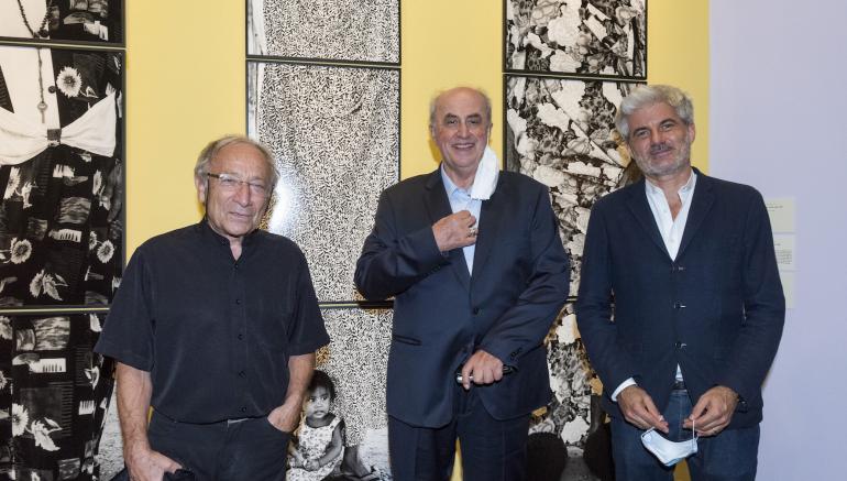 Ernest Pignon-Ernest, Elias Sanbar et Laurent Gaudé, vernissage de l'exposition Couleurs du monde, 17.09.2020 © Alice Sidoli / IMA