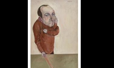 Marwan Kassab Bachi,  Der Gemahl (L'époux), huile  sur toile, 190x130cm, 1966, Barjeel Art Foundation