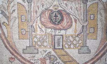 Mosaïque représentant un intérieur d'église. Méditerranée orientale, Ve siècle. Mosaïque de pavement, Paris, musée du Louvre