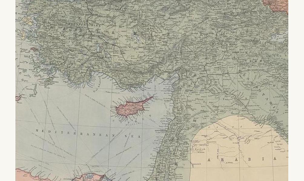 Carte de la Mésopotamie et de l'Asie Mineure 1914-1918 (détail). © BnF