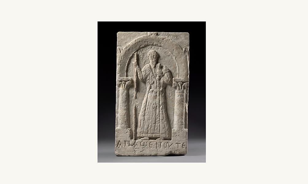 Stèle représentant Apa Shenoute, Sohag (Egypte),  Ve siècle, Calcaire.