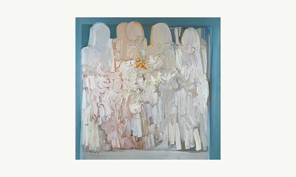 Paul Guiragossian, Groupe familial, 1974. Huile sur toile, 100 x 99 cm. © Donation Lemand / IMA