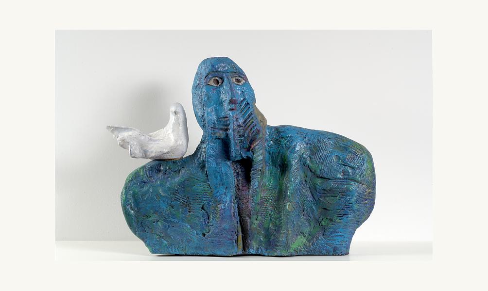 Dia Al-Azzawi, Peace Lover, 1986. Acrylique sur terre cuite, 44 x 58 x 8 cm. Pièce unique.© Donation Lemand / IMA