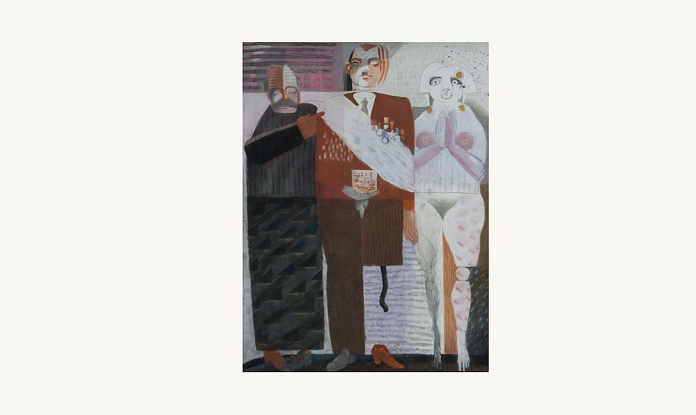 Youssef Abdelké, Figures 5, 1992. Pastel et collage sur papier, 146 x 108 cm. © Donation Lemand / IMA