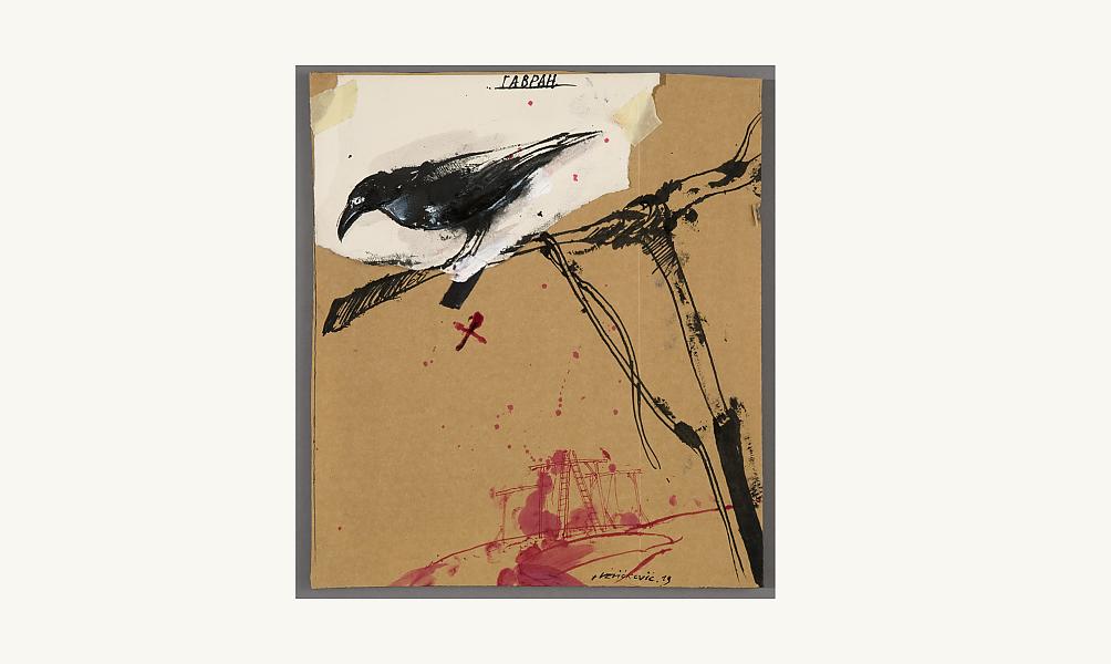 Vladimir Velickovic, Corbeau, 2013. Technique mixte sur carton, 32,2 x 29,5 cm.© Donation Lemand / IMA