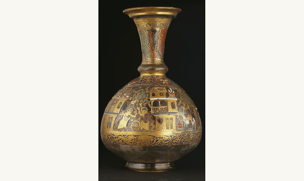 bouteille ornée de scènes agricoles Syrie Musée de l'IMA