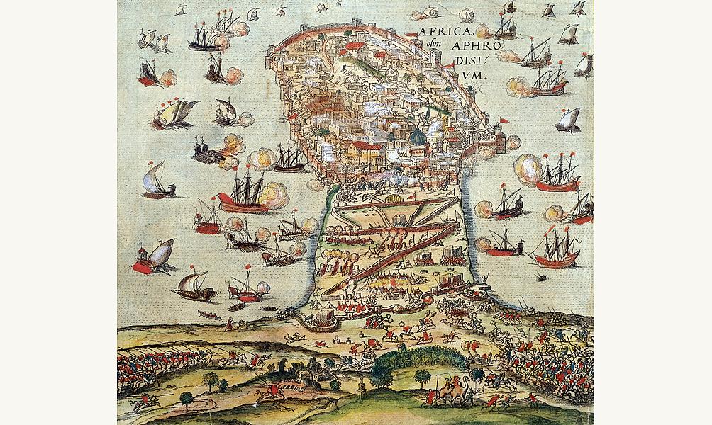 Bataille de Charles Quint et Berberousse à Tunis en 1535, estampe de Franz Hogenberg, XVIe siècle IMA