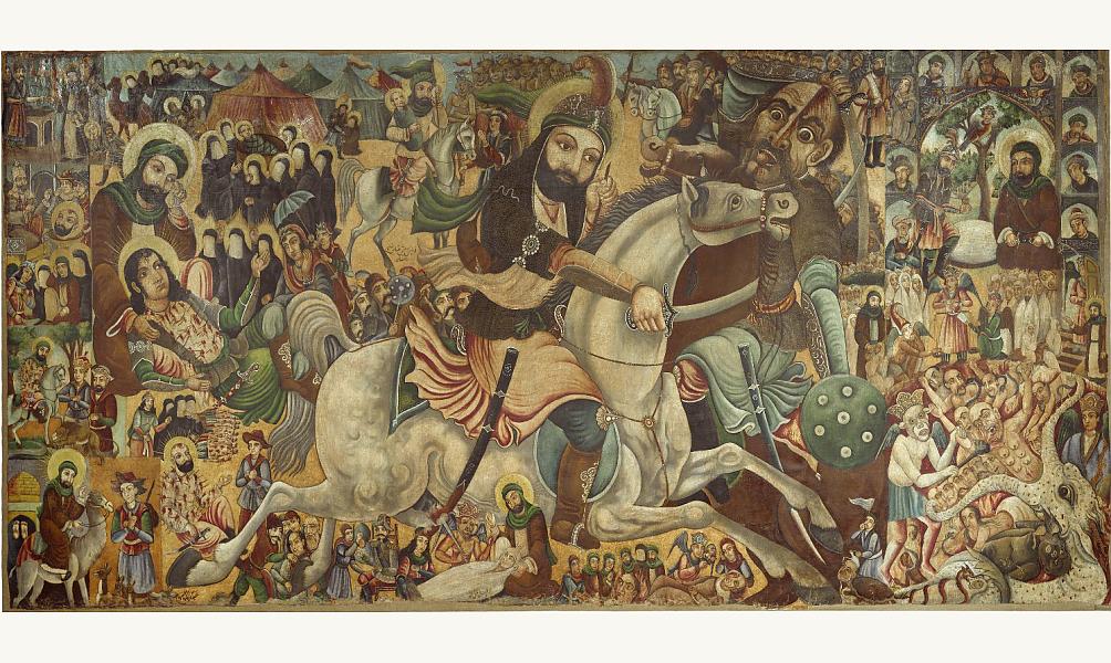 Représentation de la bataille de Karbala, l'un des événements fondateurs du shiisme, par l'artiste iranien Abbas al-Mousavi. Fin XIXe –déb. XXe  siècle, Brooklyn museum. IMA