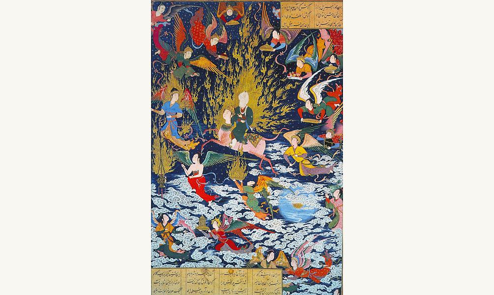 Le miraj, ou ascension de Muhammad dans les cieux, à la rencontre de Dieu. IMA