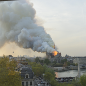La cathédrale Notre-Dame de Paris en flamme, 15 avril 2019. D.R.