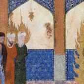 Le prophète Mahomet conduit Jésus, Moïse et Abraham à la prière, manuscrit persan © Wikimedia